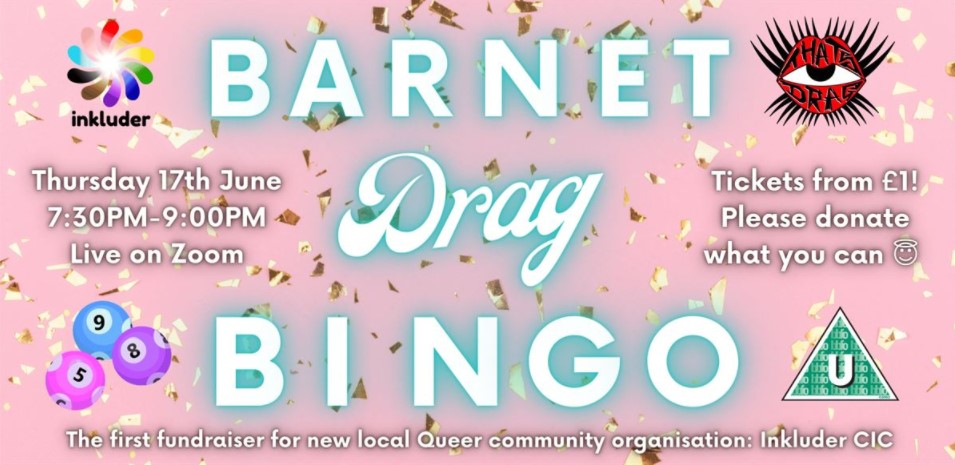 'Barnet Drag Bingo' header, featuring a pink confetti background and details of the event. Please see text of post for details
